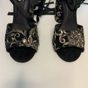Topshop Shoes - Topshop sequin embellished velvet lace up sandals